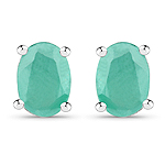 1.60 Carat Dyed Emerald .925 Sterling Silver Earrings