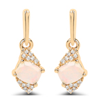0.57 Carat Genuine Ethiopian Opal and White Diamond 14K Yellow Gold Earrings