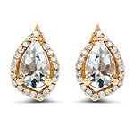 0.83 Carat Genuine Aquamarine and White Diamond 14K Yellow Gold Earrings