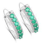 1.62 Carat Genuine Emerald and White Zircon .925 Sterling Silver Earrings