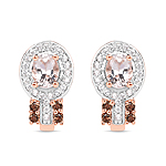 """18K Rose Gold Plated 0.87 Carat Genuine Morganite, Smoky Quartz and White Zircon .925 Sterling Silver Earrings"""