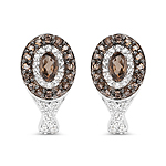 1.11 Carat Genuine Smoky Quartz and White Topaz .925 Sterling Silver Earrings