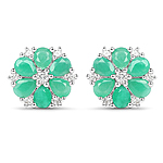 2.02 Carat Genuine Emerald and White Zircon .925 Sterling Silver Earrings