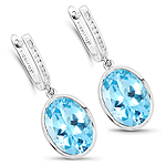 15.13 Carat Genuine Blue Topaz and White Diamond .925 Sterling Silver Earrings