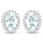1.50 Carat Genuine Aquamarine and White Zircon .925 Sterling Silver Earrings
