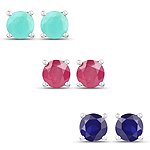 5.50 Carat Emerald, Glass Filled Ruby and Glass Filled Sapphire .925 Sterling Silver Earrings