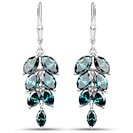 7.13 Carat Genuine Blue Diamond 14K White Gold Earrings