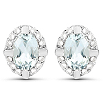 0.94 Carat Genuine Aquamarine and White Zircon .925 Sterling Silver Earrings