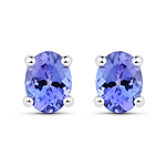 0.40 Carat Genuine Tanzanite 14K White Gold Earrings