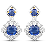 3.03 Carat Genuine Kyanite and White Diamond 14K Yellow Gold with .925 Sterling Silver Earrings