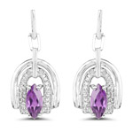 2.20 Carat Genuine Amethyst and White Topaz .925 Sterling Silver Earrings