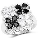 2.88 Carat Genuine White Topaz and Black Spinel .925 Sterling Silver Ring