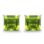 2.30 Carat Genuine Peridot .925 Streling Silver Earrings