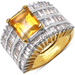 14K Yellow Gold Plated 5.25 Carat  Citrine and White Cubic Zircon Brass Ring