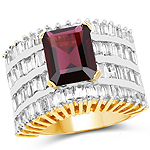 14K Yellow Gold Plated 6.50 Carat Garnet and White Cubic Zircon Brass Ring