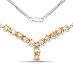 1.81 Carat Genuine Yellow Sapphire and White Diamond .925 Sterling Silver Necklace
