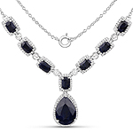 12.59 Carat Dyed Sapphire and White Topaz .925 Sterling Silver Necklace