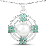 3.98 Carat Genuine Pearl and Emerald .925 Sterling Silver Pendant