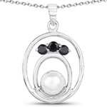 2.31 Carat Genuine Pearl and Blue Sapphire .925 Sterling Silver Pendant