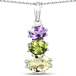 """6.00 Carat Genuine Lemon Topaz, Peridot and Amethyst .925 Sterling Silver Pendant"""