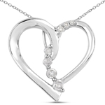 0.10 Carat Genuine White Diamond .925 Sterling Silver Pendant