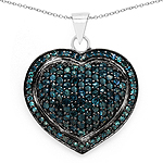 1.25 Carat Genuine Blue Diamond .925 Sterling Silver Pendant
