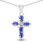 0.85 Carat Genuine Tanzanite .925 Sterling Silver Cross Pendant