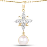 14K Yellow Gold Plated 2.44 Carat Genuine Pearl and White Cubic Zirconia .925 Sterling Silver Pendant