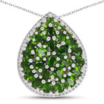 4.65 Carat Genuine Chrome Diopside .925 Sterling Silver Pendant