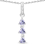 0.77 Carat Genuine Tanzanite and White Topaz .925 Sterling Silver Pendant
