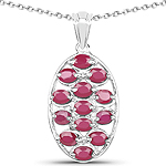 2.86 Carat Glass Filled Ruby .925 Sterling Silver Pendant