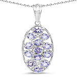 2.21 Carat Genuine Tanzanite .925 Sterling Silver Pendant