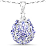 2.64 Carat Genuine Tanzanite and White Topaz .925 Sterling Silver Pendant