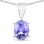 1.15 Carat Genuine Tanzanite .925 Sterling Silver Pendant