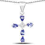 0.74 Carat Genuine Tanzanite and White Topaz .925 Sterling Silver Pendant