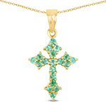 14K Yellow Gold Plated 1.05 Carat Genuine Zambian Emerald .925 Sterling Silver Pendant