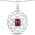 3.48 Carat Genuine Ruby .925 Sterling Silver Pendant