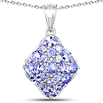 2.69 Carat Genuine Tanzanite .925 Sterling Silver Pendant