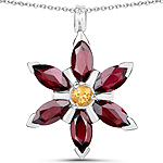 4.13 Carat Genuine Rhodolite and Citrine .925 Sterling Silver Pendant
