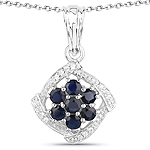 0.94 Carat Genuine Blue Sapphire and White Zircon .925 Sterling Silver Pendant