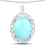 5.85 Carat Genuine Turquoise .925 Sterling Silver Pendant