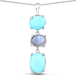 5.63 Carat Genuine Turquoise And Labradorite .925 Sterling Silver Pendant