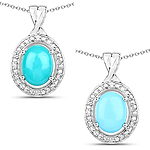 1.88 Carat Genuine Turquoise and White Zircon .925 Sterling Silver Pendant