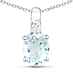1.07 Carat Genuine Aquamarine and White Zircon .925 Sterling Silver Pendant