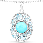 """9.59 Carat Genuine Turquoise, Blue Topaz and White Zircon .925 Sterling Silver Pendant"""
