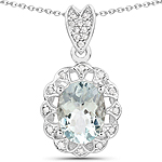 1.16 Carat Genuine Aquamarine and White Zircon .925 Sterling Silver Pendant