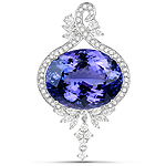 40.28 Carat Genuine Tanzanite and White Diamond 18K White Gold Pendant