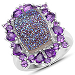 5.97 Carat Genuine Drusy Quartz and Amethyst .925 Sterling Silver Ring