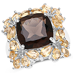 8.68 Carat Genuine Smoky Quartz and Citrine .925 Sterling Silver Ring