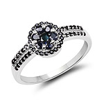 0.71 Carat Genuine Blue Sapphire and Black Spinel .925 Sterling Silver Ring